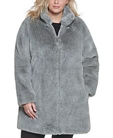 Plus Size Faux-Fur Adjustable Anorak Coat