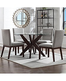 Amy 5-Pc. Dining Set, (Round Glass Table & 4 Side Chairs in beige)