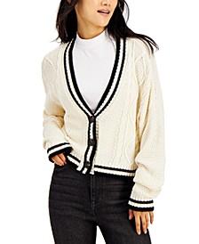 Juniors' Varsity Cable-Knit Cardigan