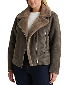 Plus Size Faux Shearling Moto Jacket, Created for Macy's