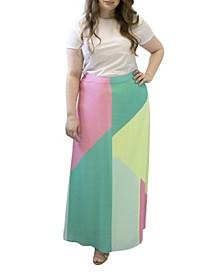 Plus Size Geometric Maxi Skirt