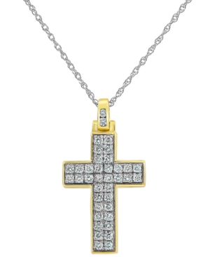 """Lab-Created Diamond Cross 18"""" Pendant Necklace (3/4 ct. t.w.) in Sterling Silver & Yellow Ion-Plate"""