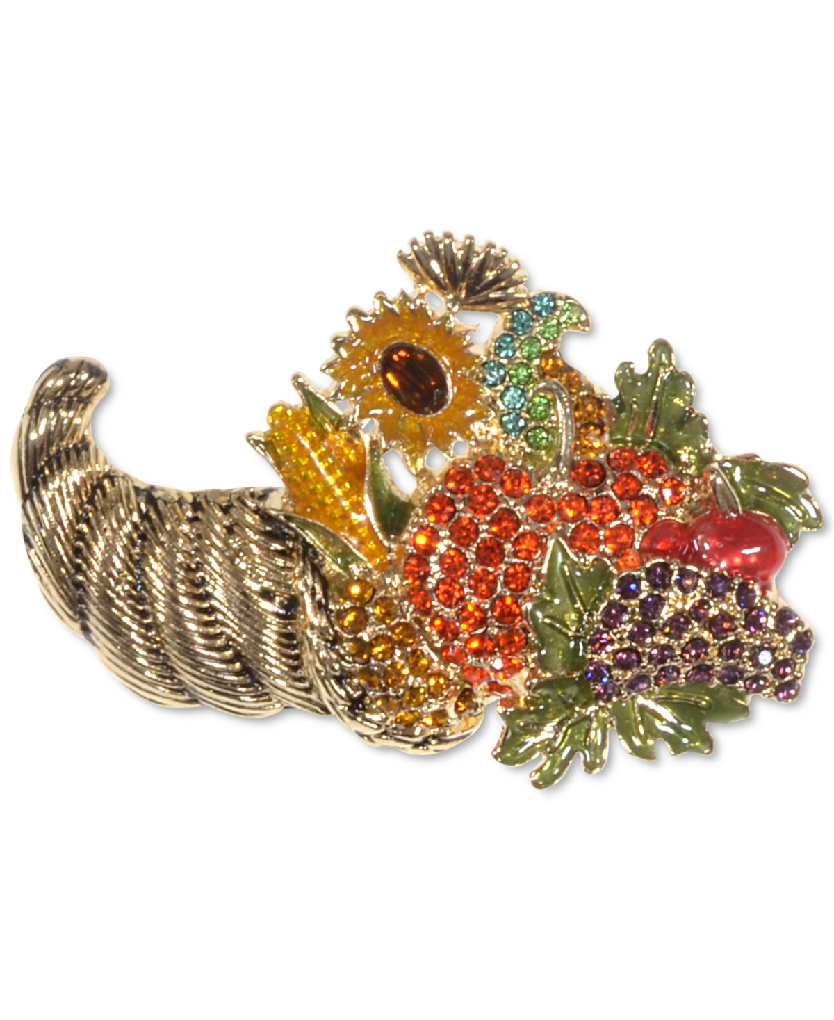 Holiday Lane Gold-Tone Multicolor Crystal Harvest Pin, Created for Macy's