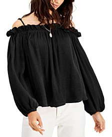 Ruffle-Trim Off-The-Shoulder Blouse, Created for Macy's