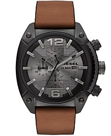 Unisex Chronograph Overflow Tan Leather Strap Watch 54x49mm