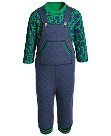 Baby Boys 2-Pc. Dino-Print T-Shirt & Quilted Overalls Set, Created for Macy's