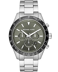 Men's Layton Chronograph Silver-Tone Stainless Steel Bracelet Watch 45mm