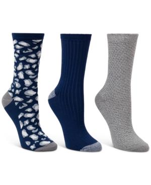 3-Pk. Leopard & Textured Crew Socks