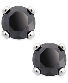 Black Diamond Round Stud Earrings in 10k White Gold (1/5 ct. t.w.)