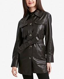 Liv Belted Leather Shirt Jacket