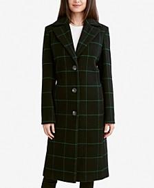 London Plaid Single-Breasted Walker Coat