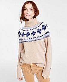 Argyle Turtleneck Sweater