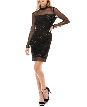 Juniors' Mock-Neck Studded Dress