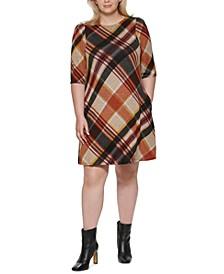 Plus Size Plaid A-Line Dress