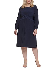 Plus Size Crossover-Front Dress