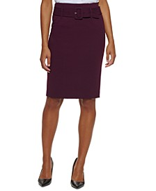 Petite Belted Pencil Skirt