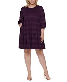 Plus Size Textured-Stripe Sweater Dress