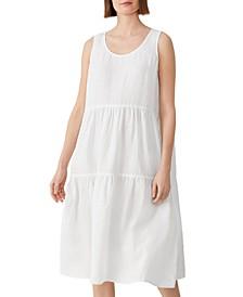Petite Tiered Organic Linen Shift Dress