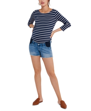 Luxe Denim Under-Belly Maternity Shorts