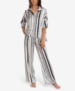 Women's Rae Stripe Satin 2 Pieces Pajama Set