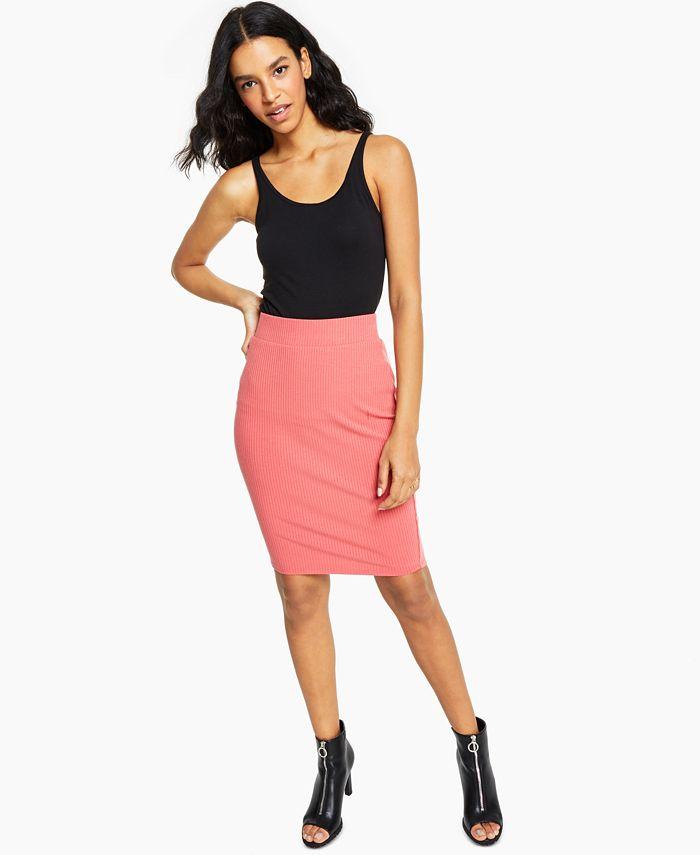 Bar III - Ribbed-Knit Pencil Skirt