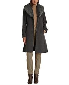 Petite Faux-Fur-Trim Walker Coat, Created for Macy's