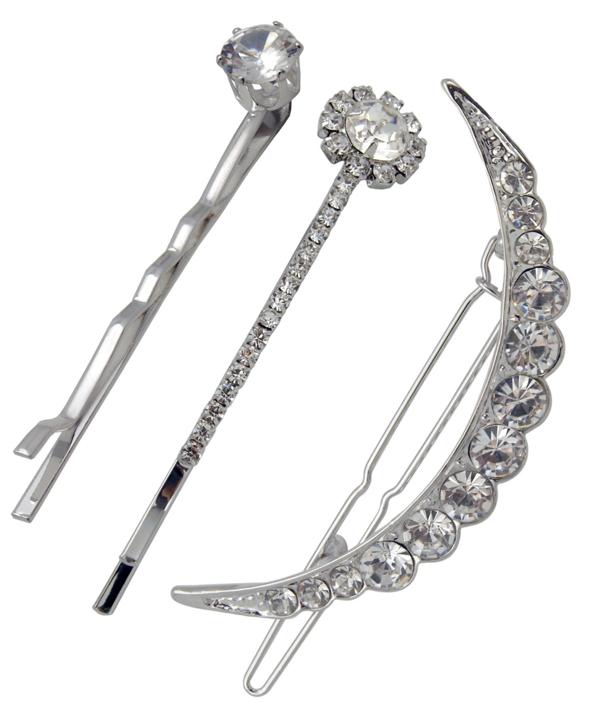 Silver-tone and crystal barrette and hair pin set