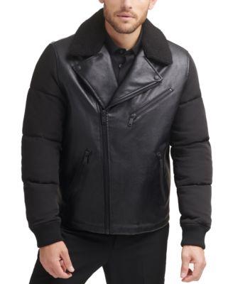 DKNY 맨 가죽 자켓 Mens Mixed Media Motorcycle Jacket,Black