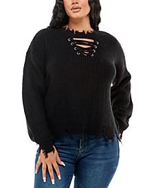Juniors' Distressed Sweater
