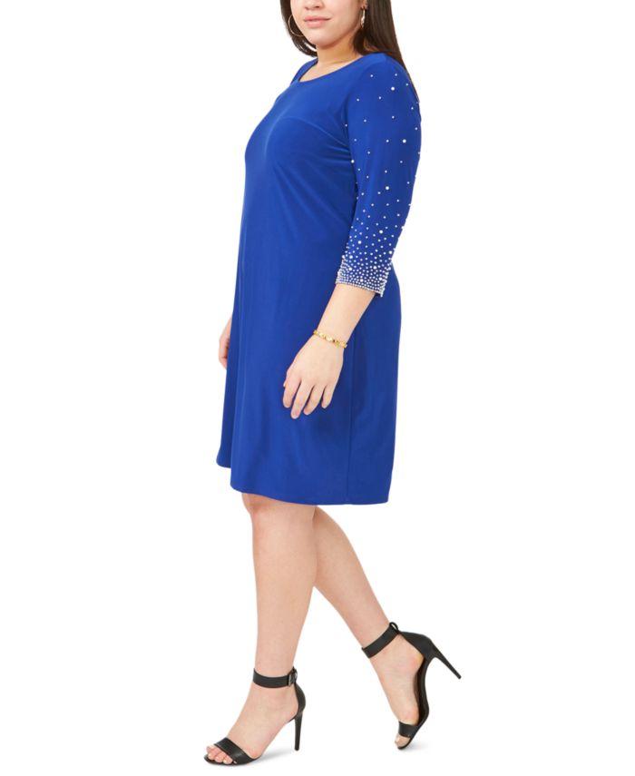 MSK Plus Size Faraj Embellished-Sleeve Sheath Dress & Reviews - Dresses - Plus Sizes - Macy's