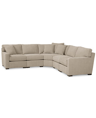 Radley fabric 5 piece sectional sofa created for macy39s for Macy s orange sectional sofa