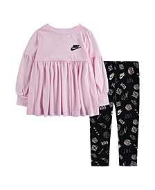 Toddler Girls Icon Long Sleeve Top and Legging Set, 2 Piece