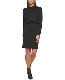 Petite Mock-Neck Popover Sweater Dress