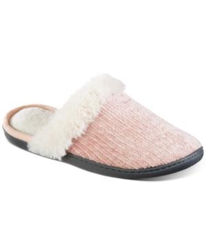 Women's Faux-Fur-Trim Pink Chenille Quinn Clog Slippers