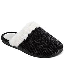 Women's Faux-Fur-Trim Black Chenille Quinn Clog Slippers