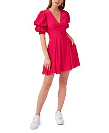 Puff Sleeve Tiered Short Dress