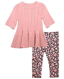 Baby Girls Cable Knit Front Sweater and Printed Cotton Span Legging Outfit, 2 Piece Set