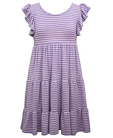 Big Girls Tiered Striped Knit Dress with Flutter Sleeve and Tie Back