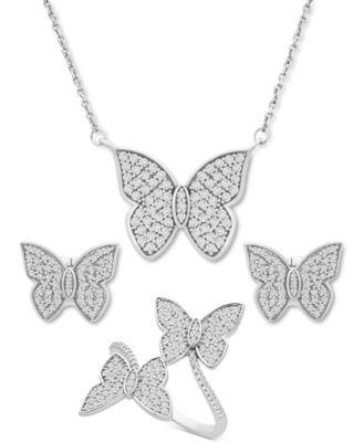 Diamond Butterfly Stud Earrings (1/2 ct. t.w.) in 14k White Gold, Created for Macy's