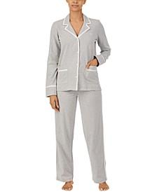 Soft Textured Knit Notch Collar Pajama Set