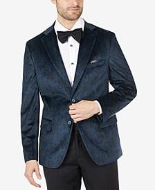 Men's Slim-Fit Blue Paisley Velvet Blazer
