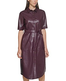 Belted Faux-Leather Shirtdress
