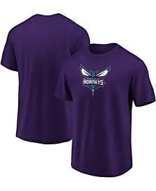 Men's Purple Charlotte Hornets Primary Team Logo T-shirt