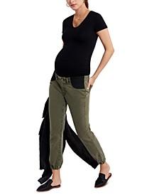Denim Side-Panel Maternity Jogger Jeans