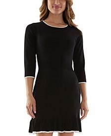 Juniors' Ruffle-Hem Sweater Dress