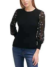 Sheer-Sleeved Mixed-Media Sweater