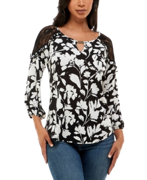 Women's 3/4 Sleeve Lace Cold Shoulder Top