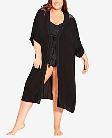Plus Size Mono Safari Kaftan Jacket