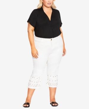 Plus Size Jada Stud Crop Jeans