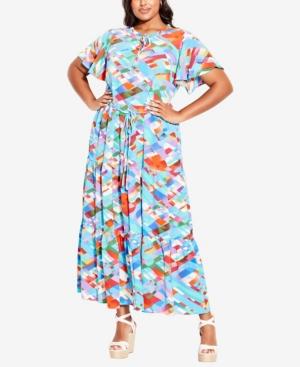 Plus Size Happy Tier Print Maxi Dress